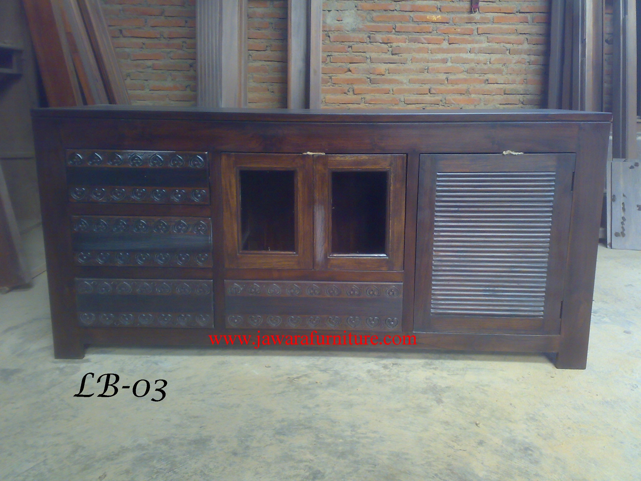 Harga Bufet Minimalis Modern Kayu Jati Jawara Furniture # Meuble Buffet Tv